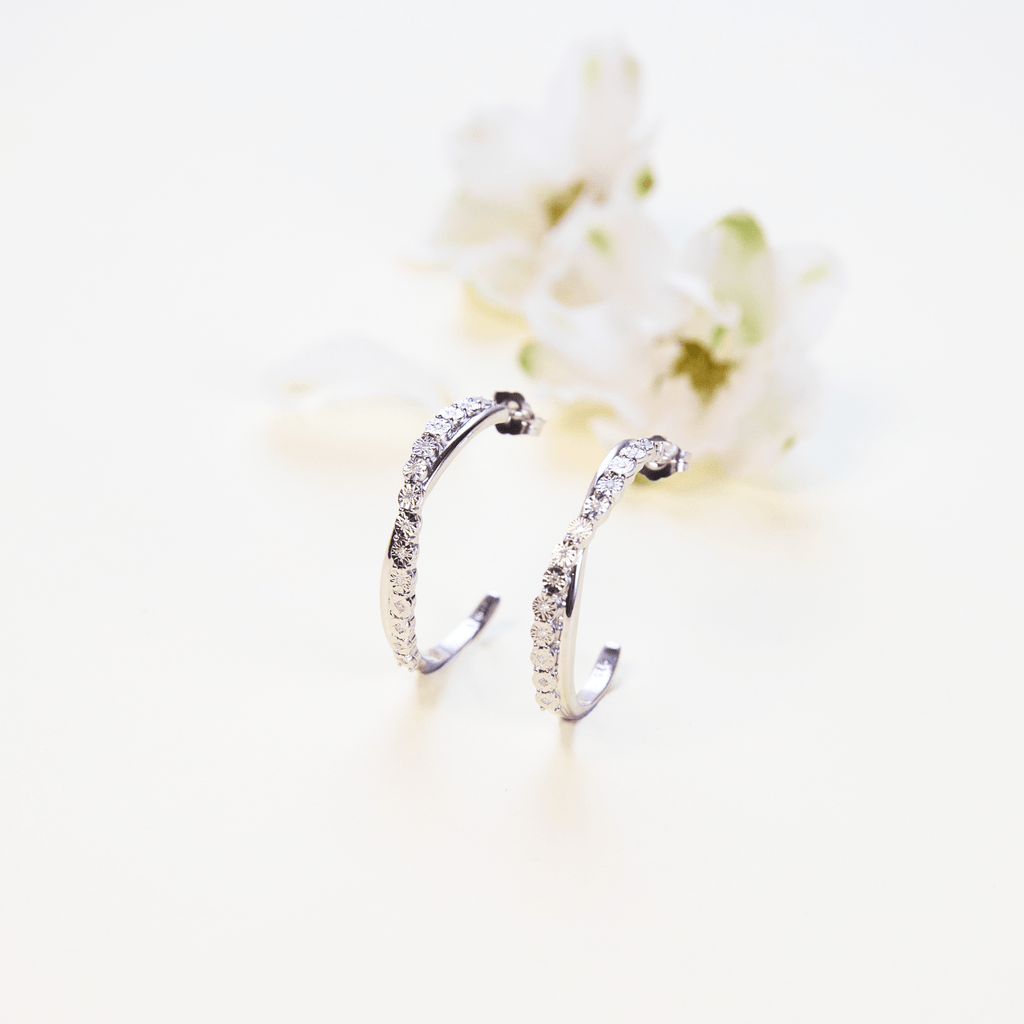 Brilliant 0.08ct Diamond Crossover Hoop Earrings in Sterling Silver Earrings Bevilles