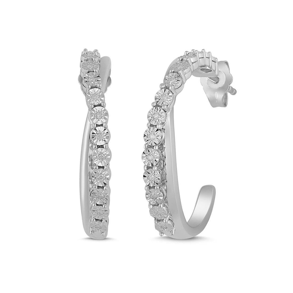 Brilliant Diamond Crossover Hoop Earrings in Sterling Silver