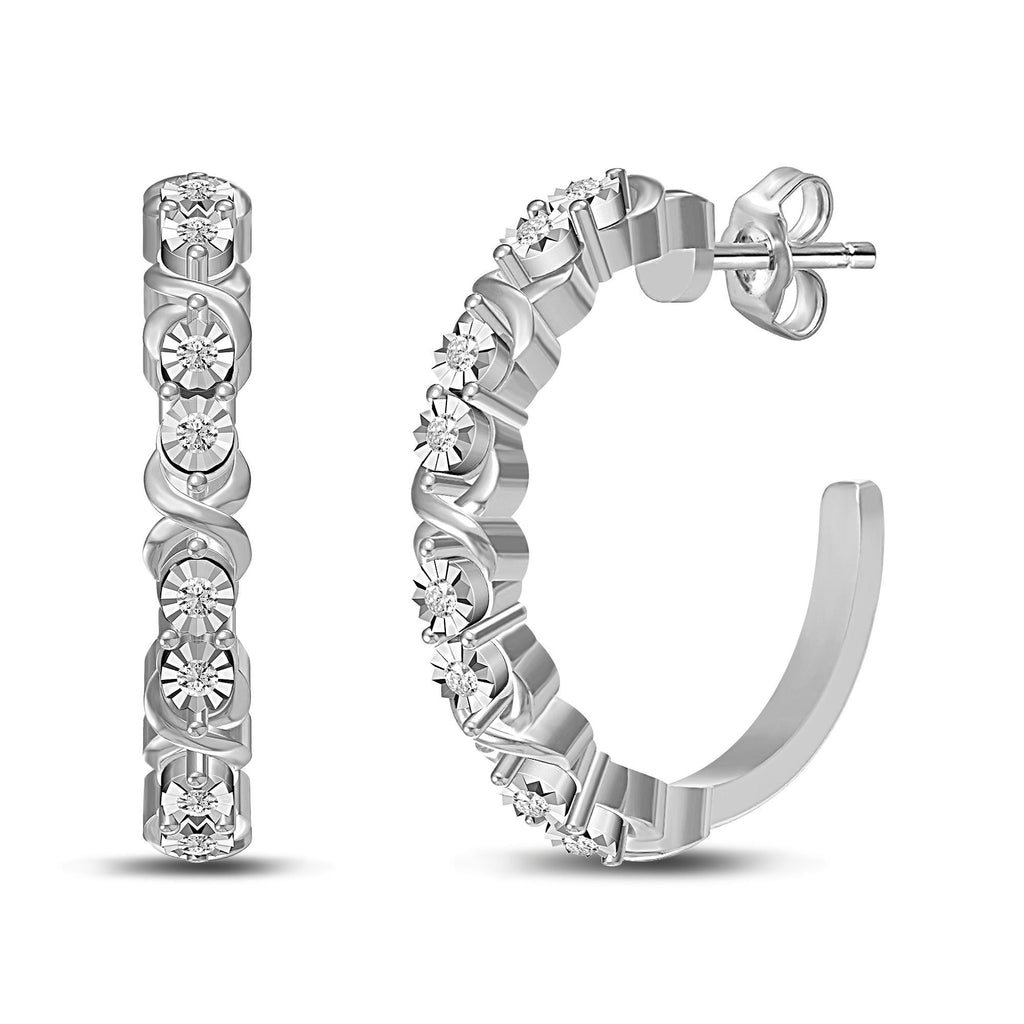 Brilliant Illusion Diamond Hoop Earrings in Sterling Silver Earrings Bevilles