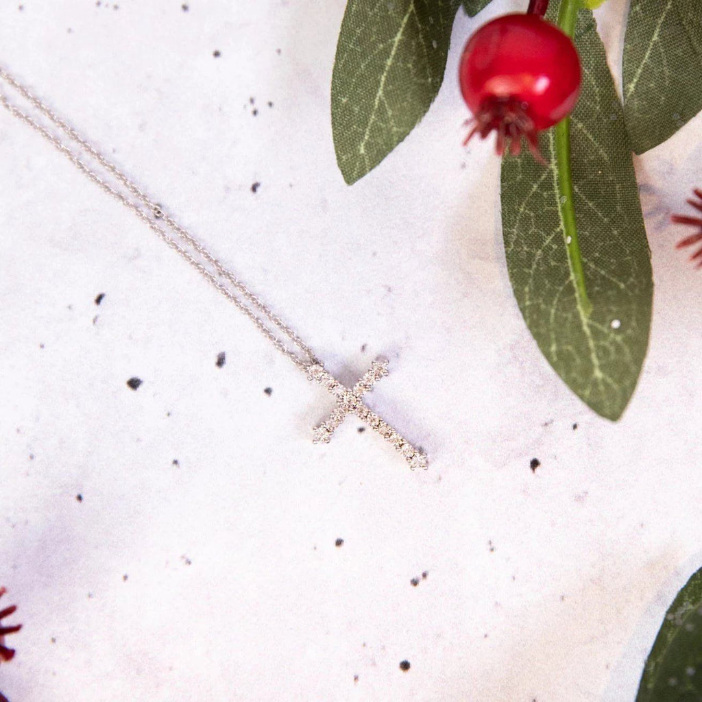 Sterling Silver 0.03ct Diamond Cross Necklace
