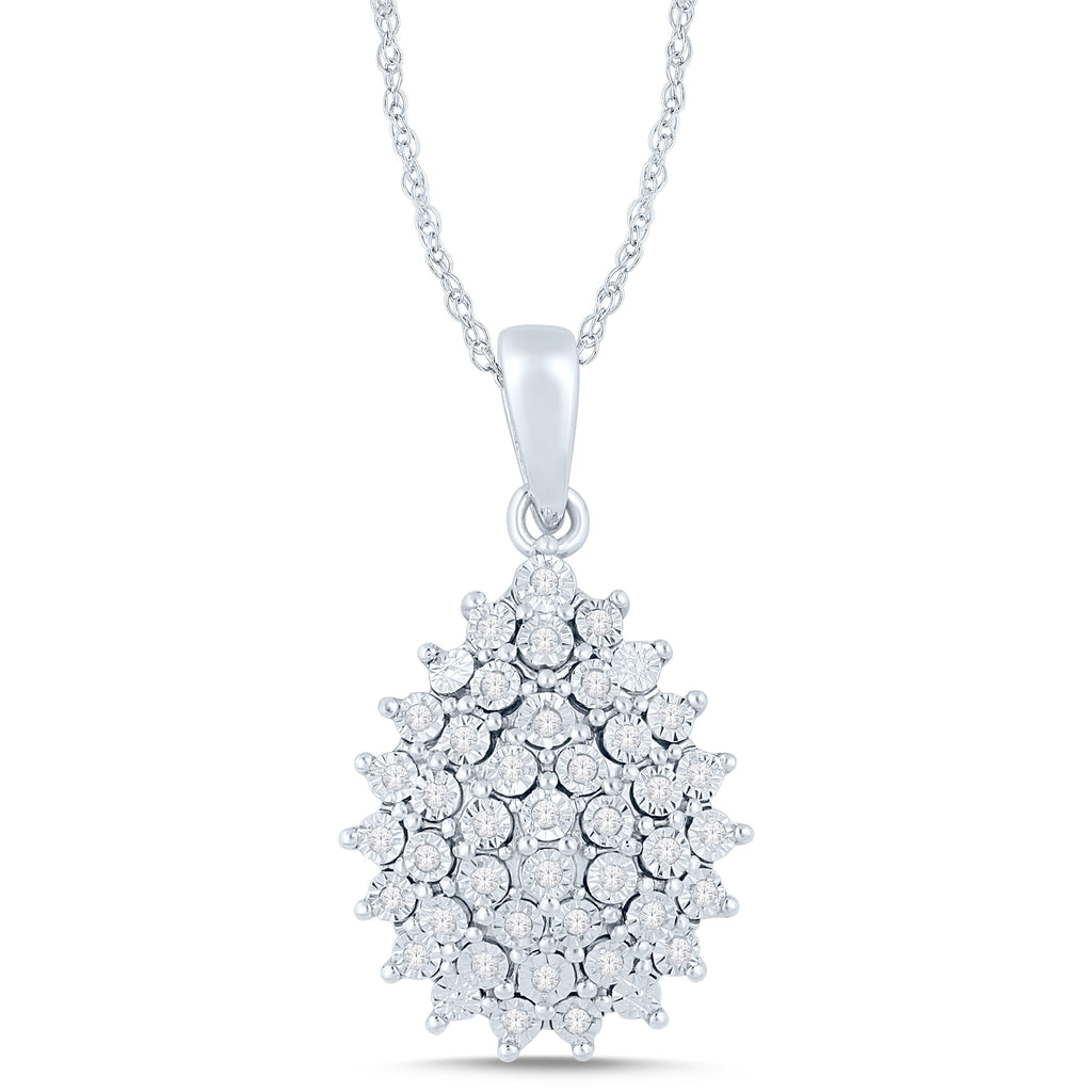 Brilliant Illusion Pear Cluster Necklace with 1/5ct of Diamonds in Sterling Silver