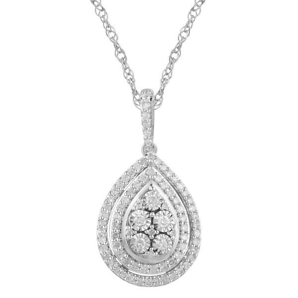 Miracle Halo Pear Necklace with 0.50ct of Diamonds in Sterling Silver Necklaces Bevilles