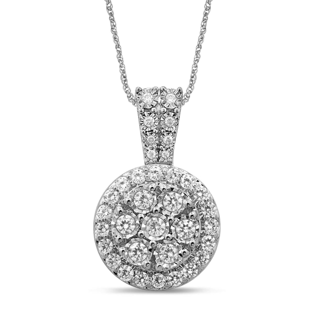 Brilliant Miracle Halo Necklace with 3/4ct of Diamonds in Sterling Silver Necklaces Bevilles