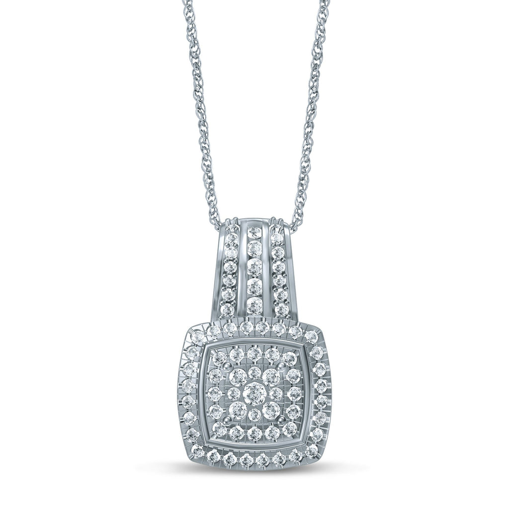 Brilliant Sqaure Look Necklace with 3/4ct of Diamonds in Sterling Silver Necklaces Bevilles