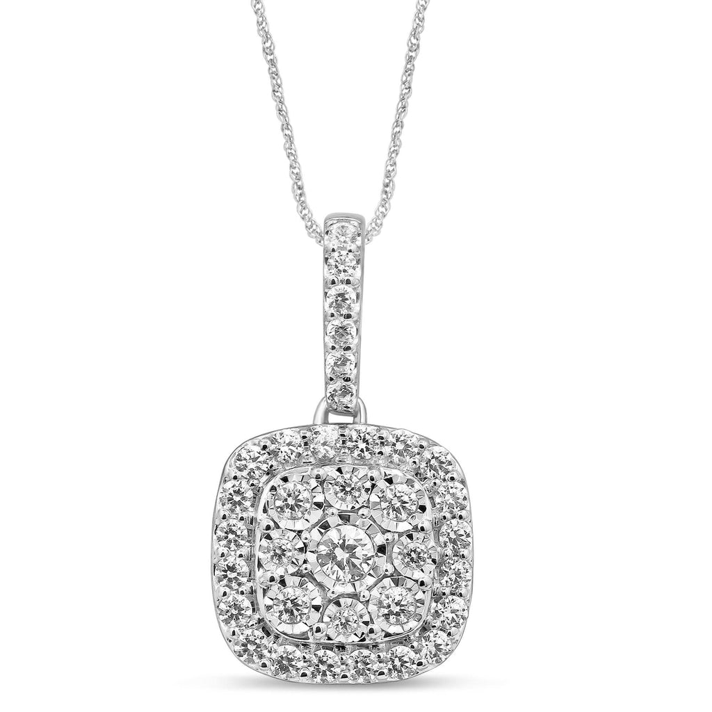 Soft Square Look Halo Necklace with 1/2ct of Diamonds in Sterling Silver Necklaces Bevilles