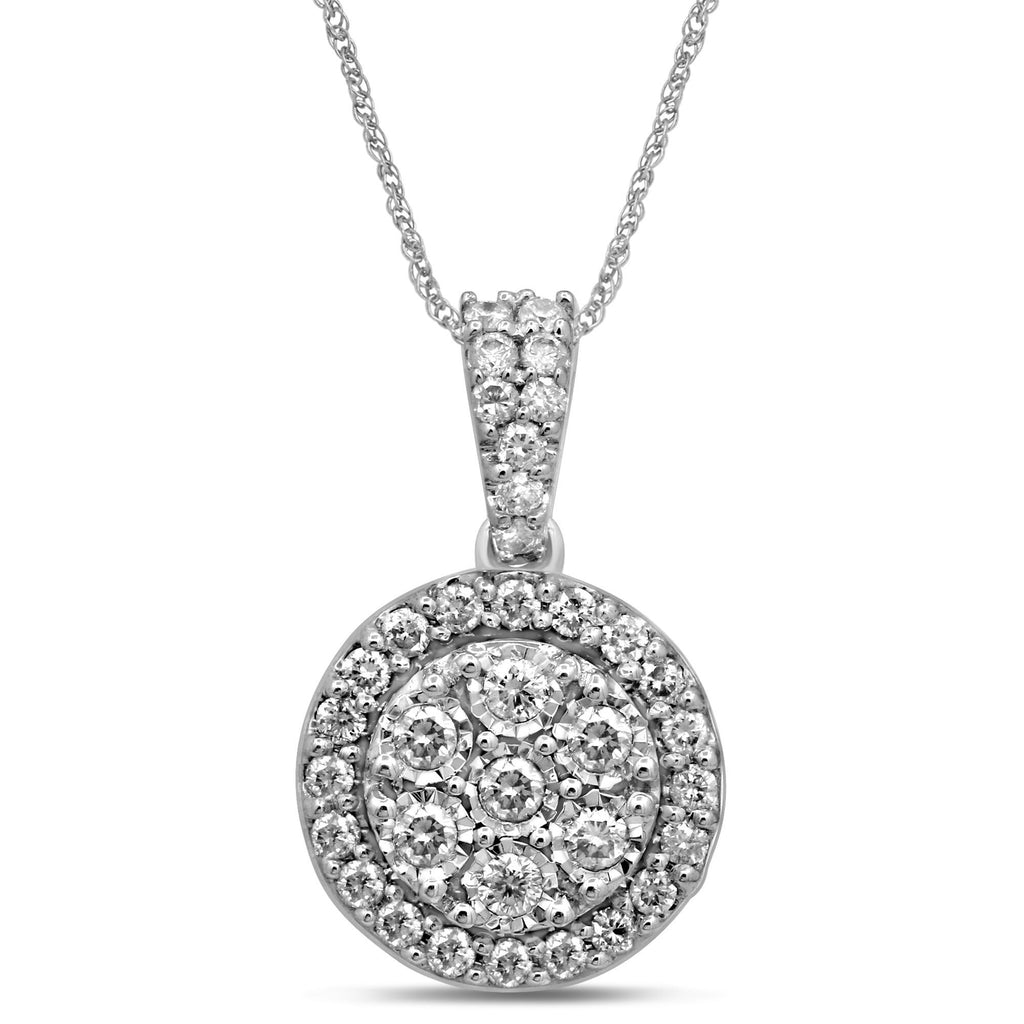 Brilliant Miracle Halo Necklace with 1/2ct of Diamonds in Sterling Silver