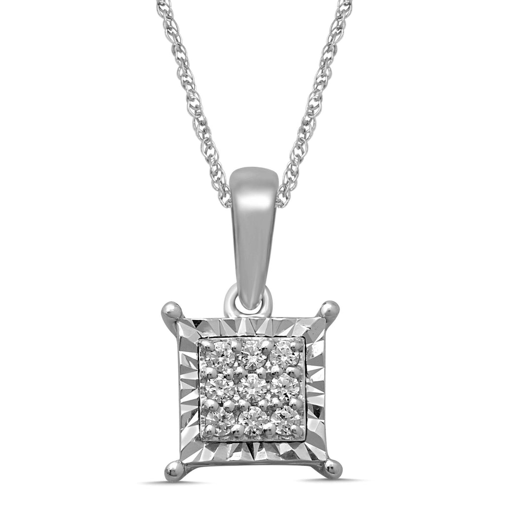 Sterling Silver Brilliant Claw Square Look Necklace with 0.10ct of Diamonds Necklaces Bevilles