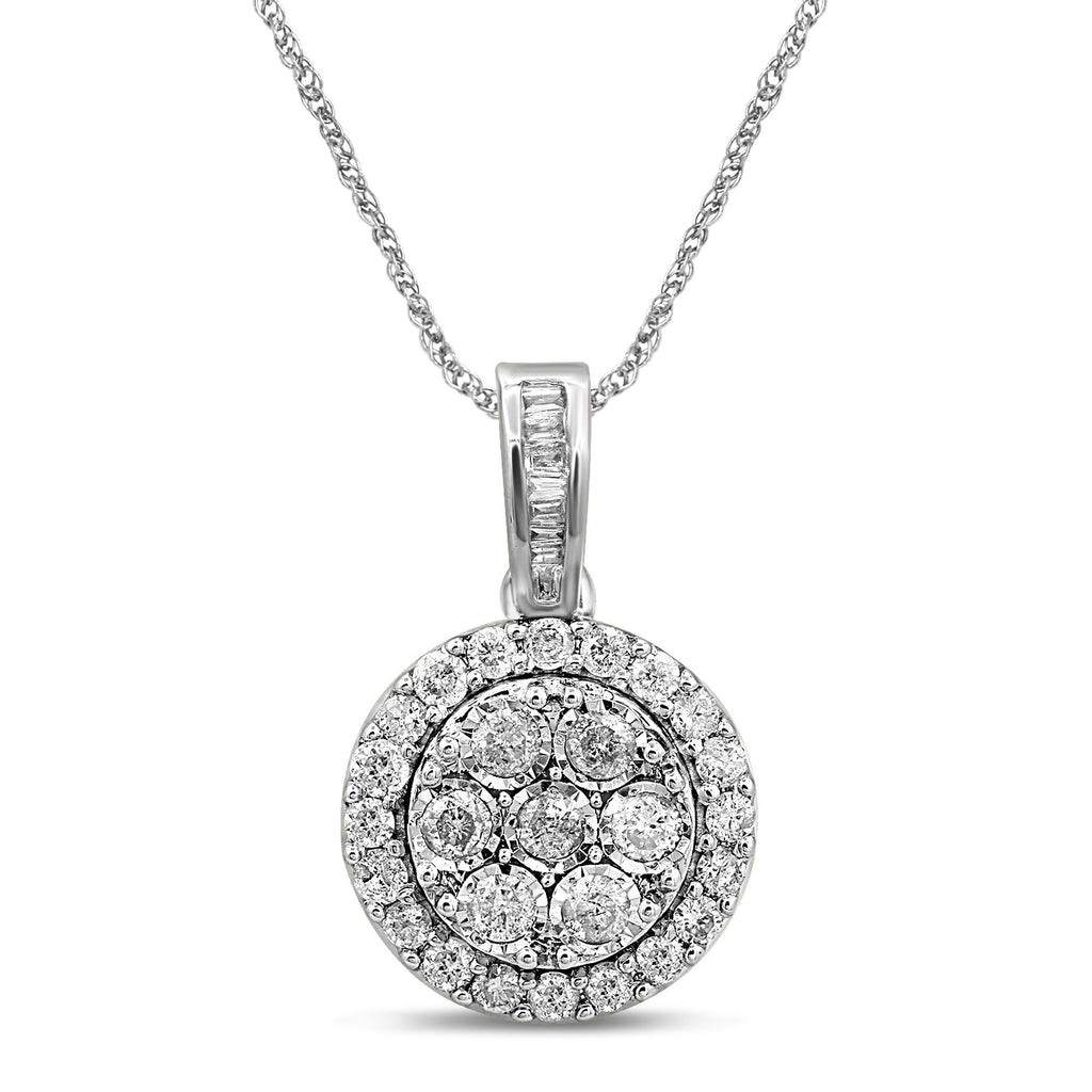 Sterling Silver Brilliant Miracle Round Necklace with 1.00ct of Diamonds Necklaces Bevilles