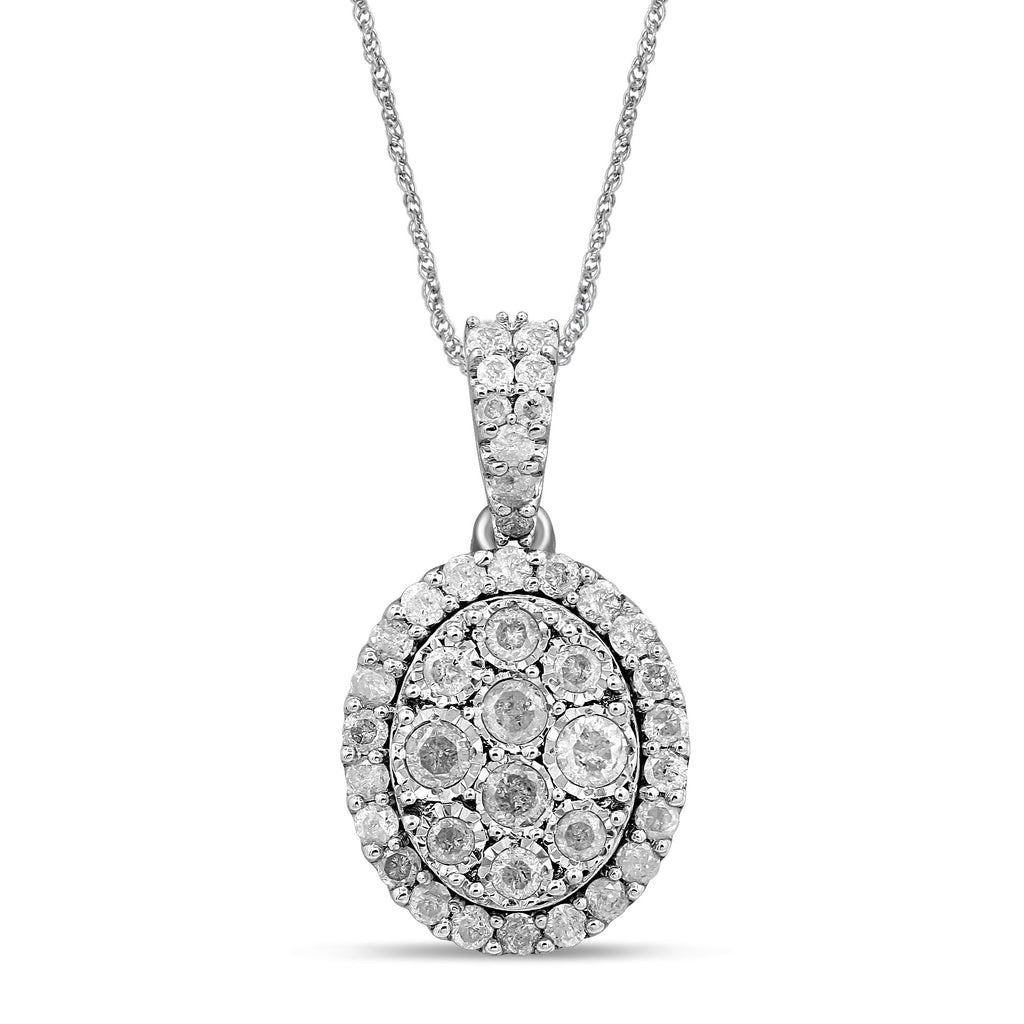Brilliant Illusion Halo Necklace with 1.00ct of Diamonds in Sterling Silver Necklaces Bevilles
