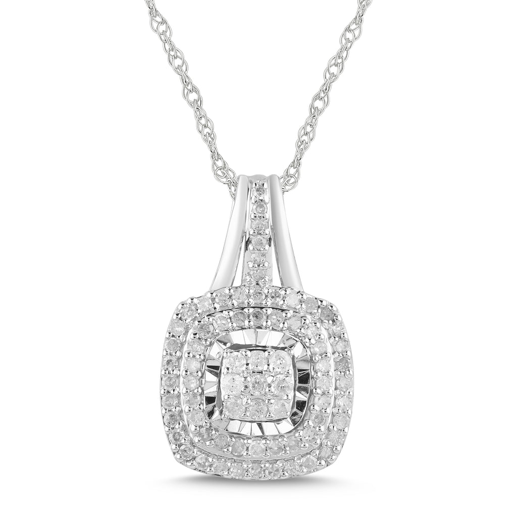 Brilliant Halo Necklace with 1/2ct of Diamonds in Sterling Silver Necklaces Bevilles