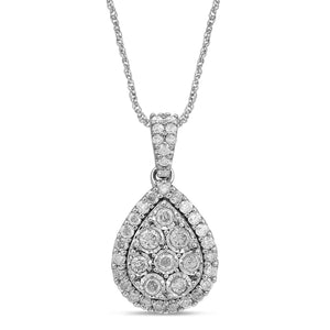 Brilliant Miracle Halo Pear Necklace with 1.00ct of Diamonds in Sterling Silver
