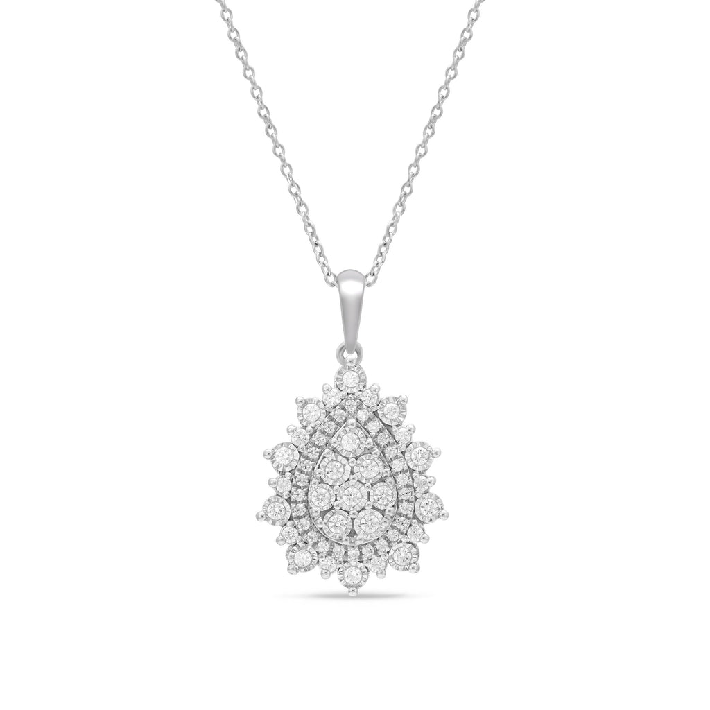 Miracle Pear Shape Fancy Necklace with 1/2ct of Diamonds in Sterling Silver Necklaces Bevilles
