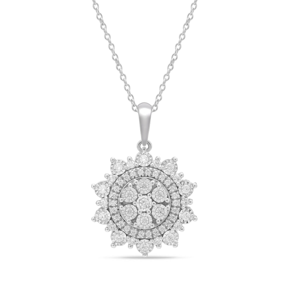 Miracle Halo Fancy Necklace with 1/2ct of Diamonds in Sterling Silver Necklaces Bevilles