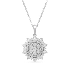 Miracle Halo Fancy Necklace with 1/2ct of Diamonds in Sterling Silver