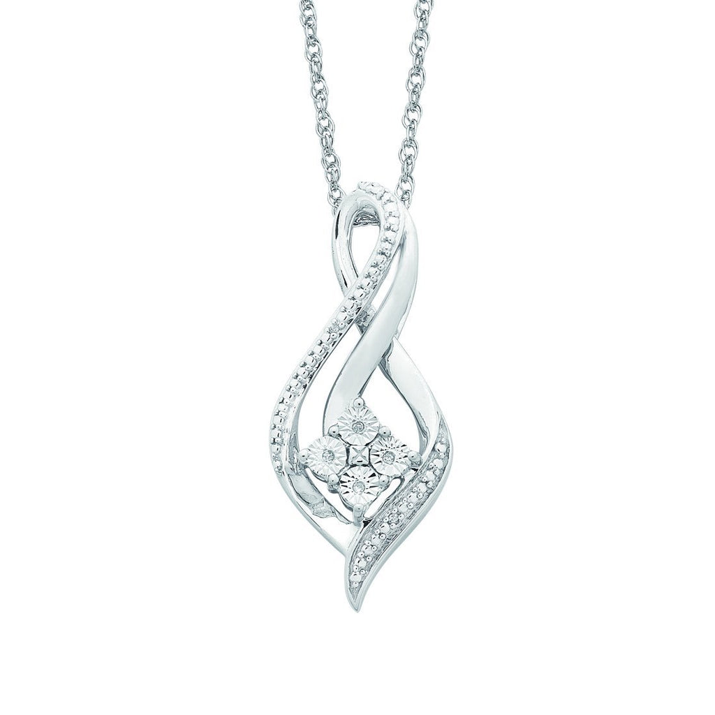 Swirl Diamond Necklace in Sterling Silver