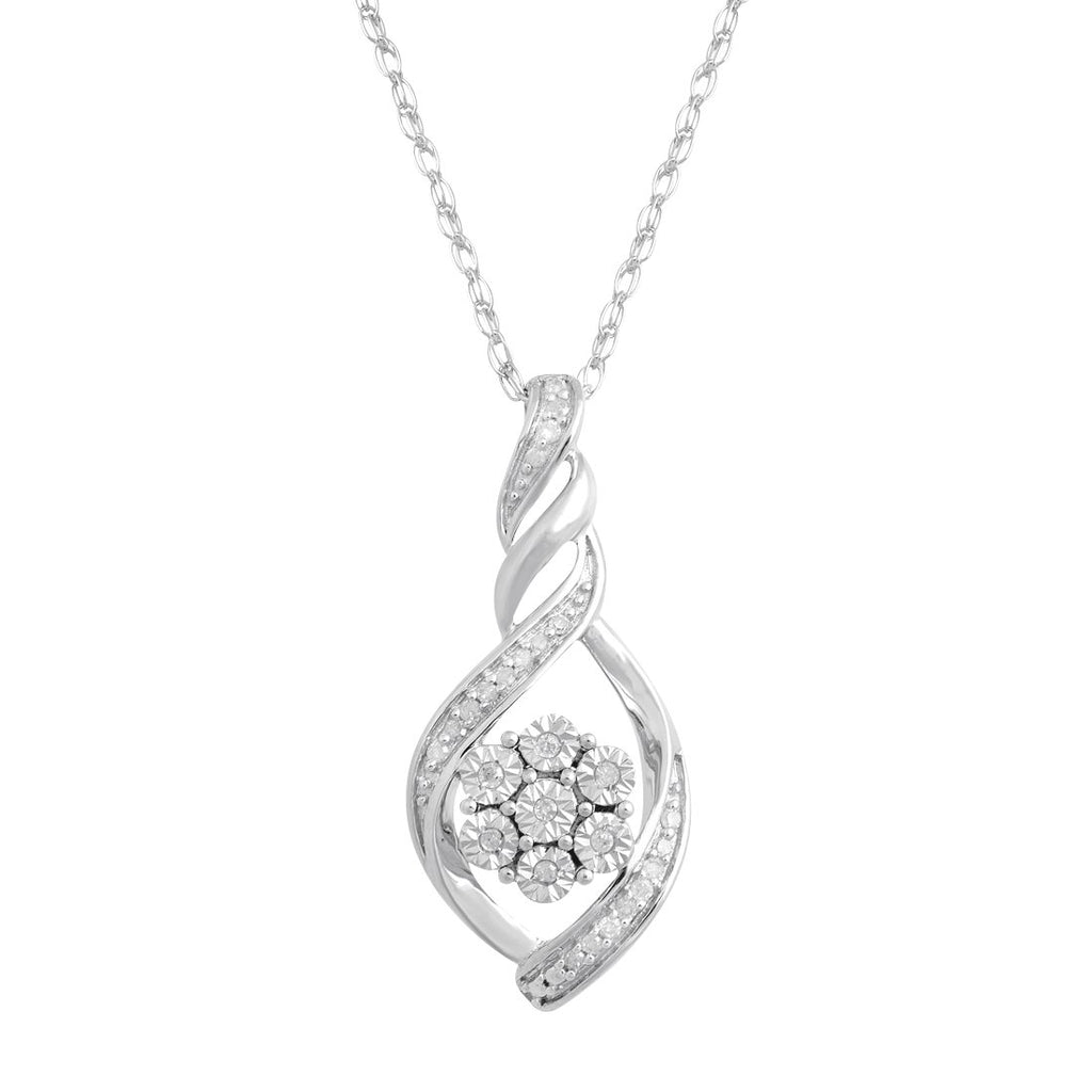 Brilliant Illusion Diamond Flower Necklace in Sterling Silver