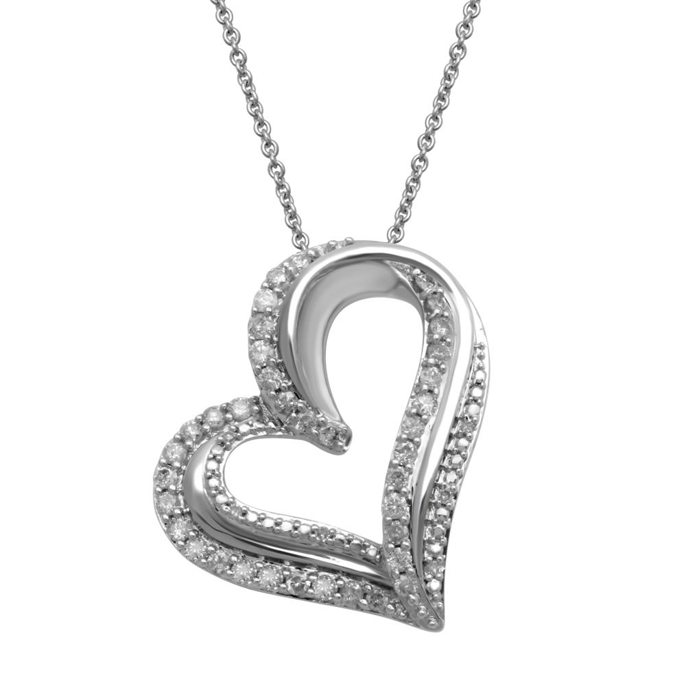 Sterling Silver Brilliant Claw Double Heart Necklace with 0.50ct of Diamonds