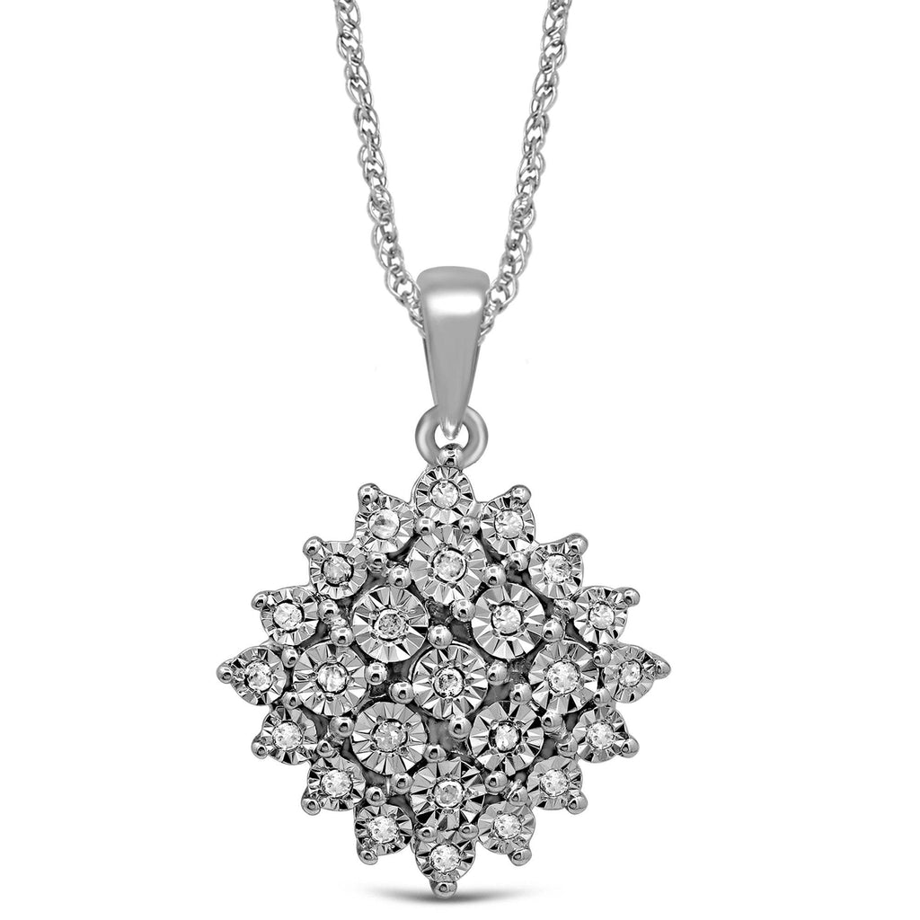 Brilliant Miracle Cluster Diamond Necklace in Sterling Silver