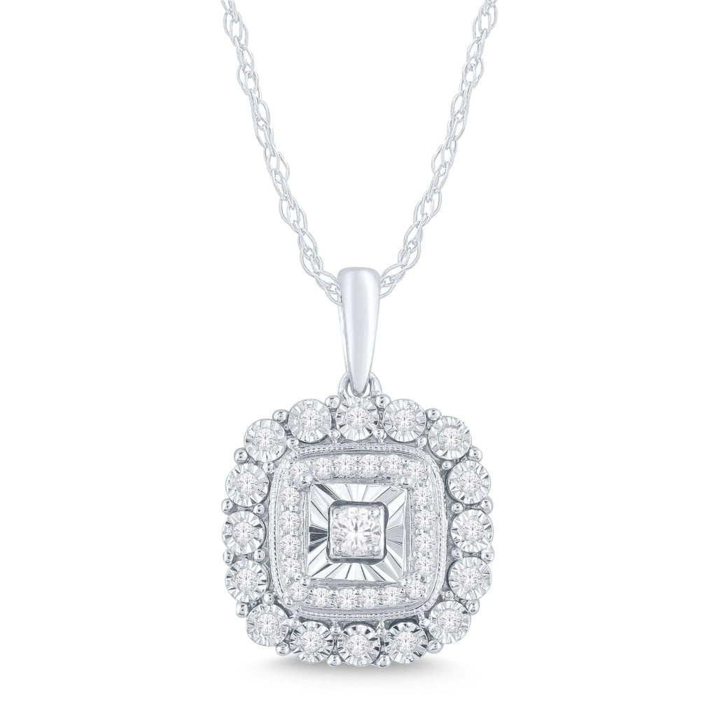 Brilliant Square Milgrain Necklace with 1/5ct of Diamonds in Sterling Silver