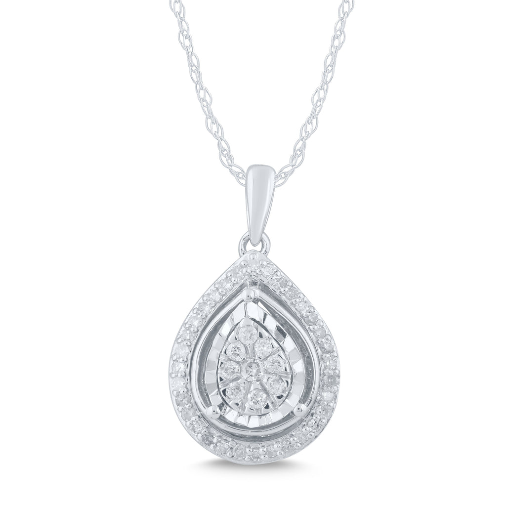 Miracle Halo Pear Necklace with 0.25ct of Diamonds in Sterling Silver Necklaces Bevilles