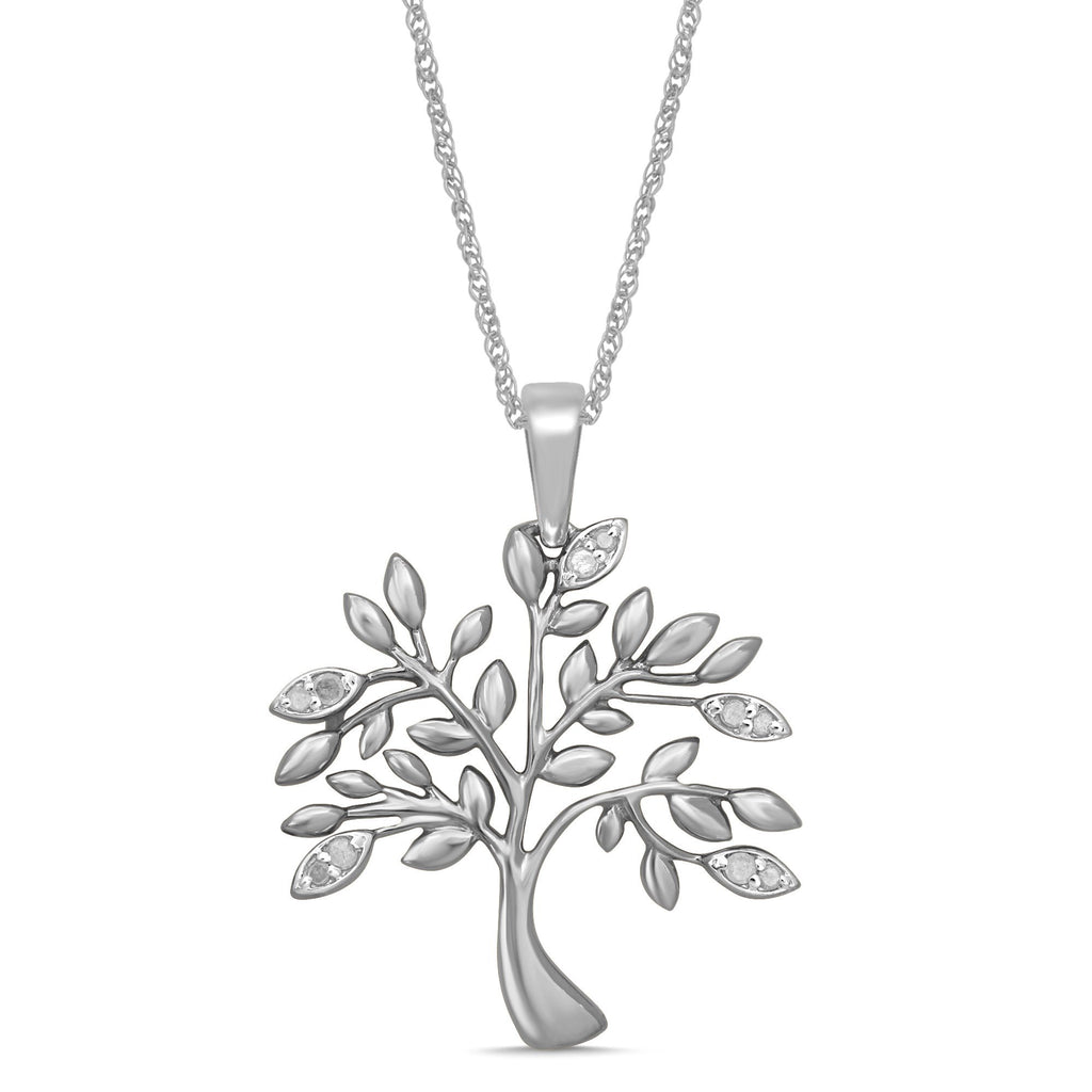 Sterling Silver Tree of Life Necklace with 0.10ct of Diamonds Necklaces Bevilles
