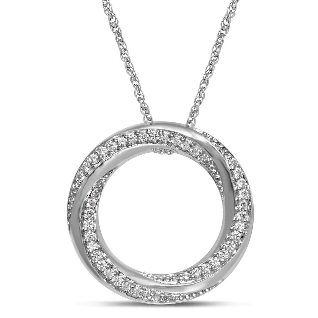 Sterling Silver Swirl Circle Necklace with 0.20ct of Diamonds Necklaces Bevilles