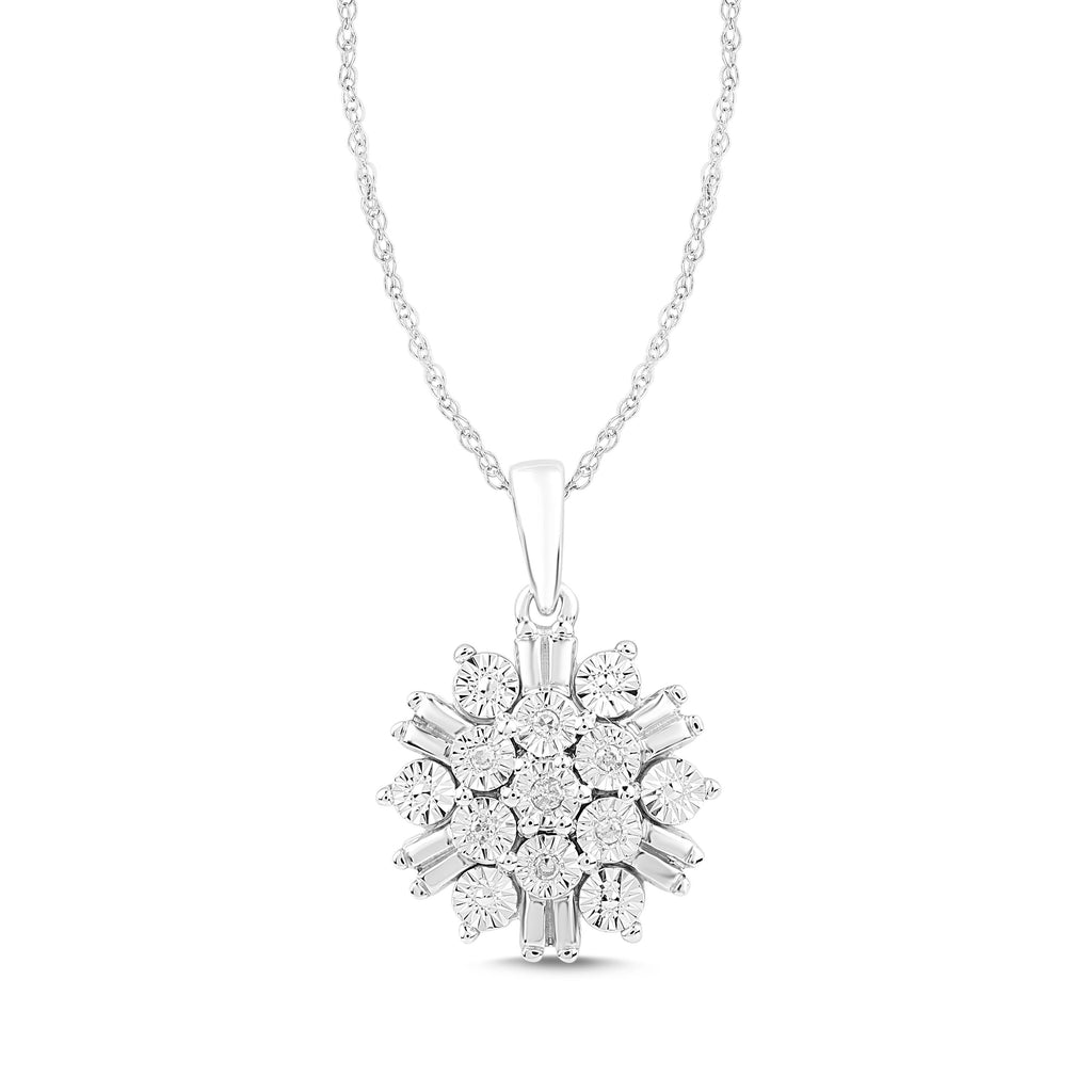 Brilliant Baguette Look Diamond Cluster Necklace in Sterling Silver Necklaces Bevilles