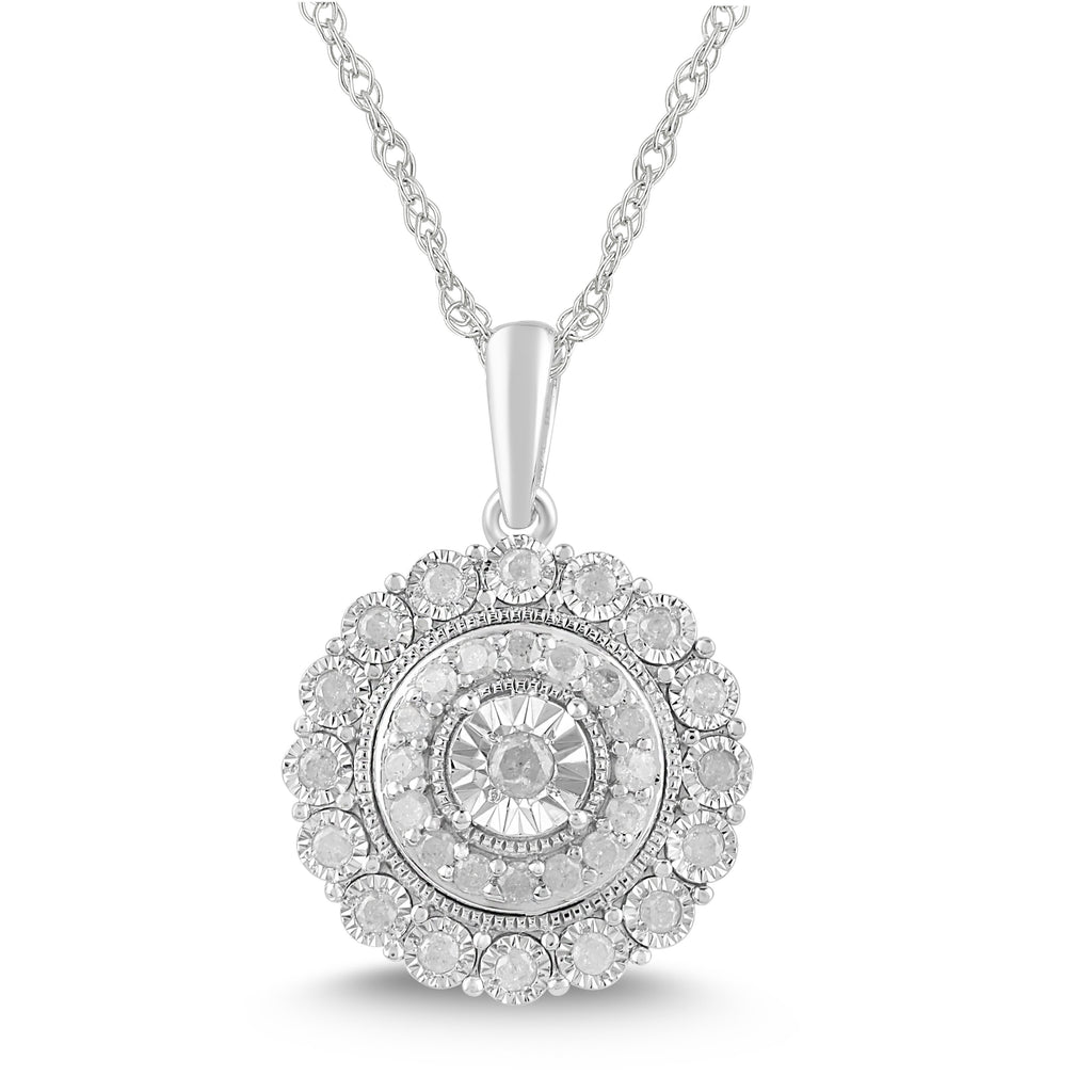Brilliant Claw Halo Necklace with 1/3ct of Diamonds in Sterling Silver Necklaces Bevilles