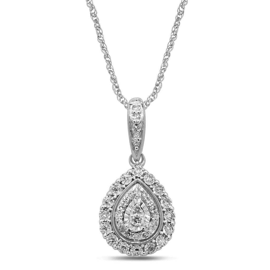 Sterling Silver 1/5ct Diamond Pear Necklace Necklaces Bevilles