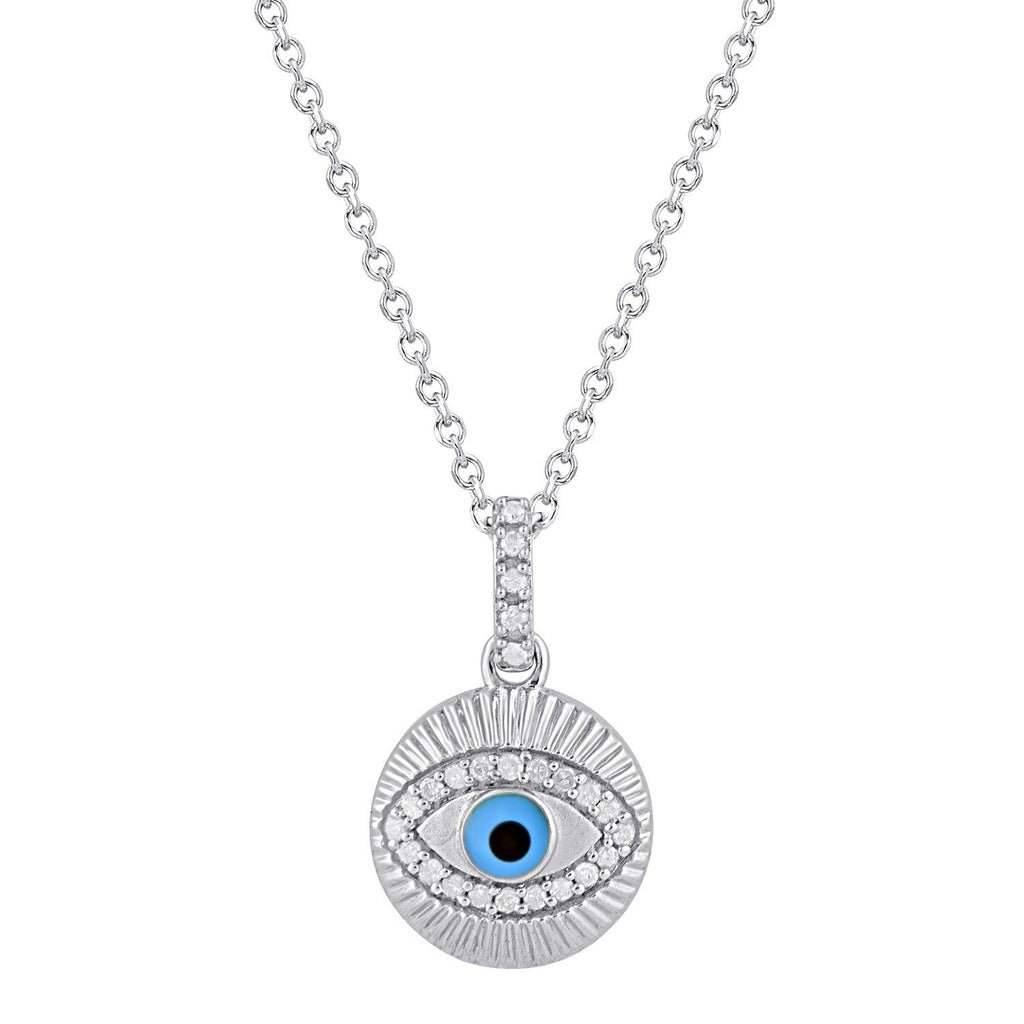 Diamond Evil Eye Necklace in Sterling Silver Necklaces Bevilles