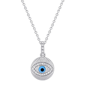 Diamond Evil Eye Necklace in Sterling Silver