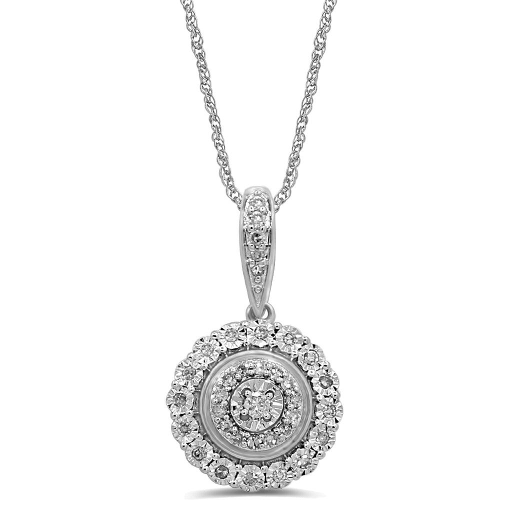 Brilliant Miracle Double Halo Necklace with 1/5ct of Diamonds in Sterling Silver Necklaces Bevilles
