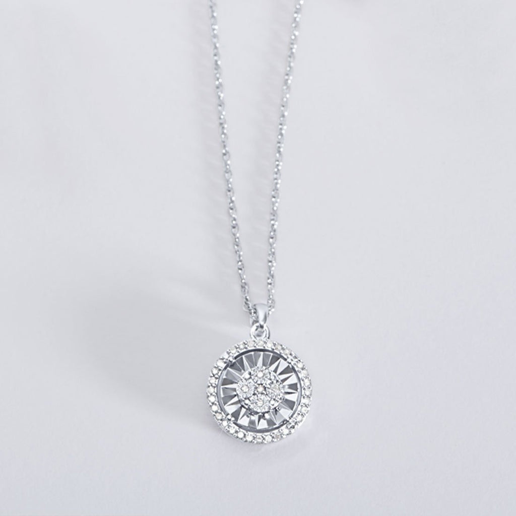 Miracle Halo Necklace with 0.10ct of Diamonds in Sterling Silver Necklaces Bevilles