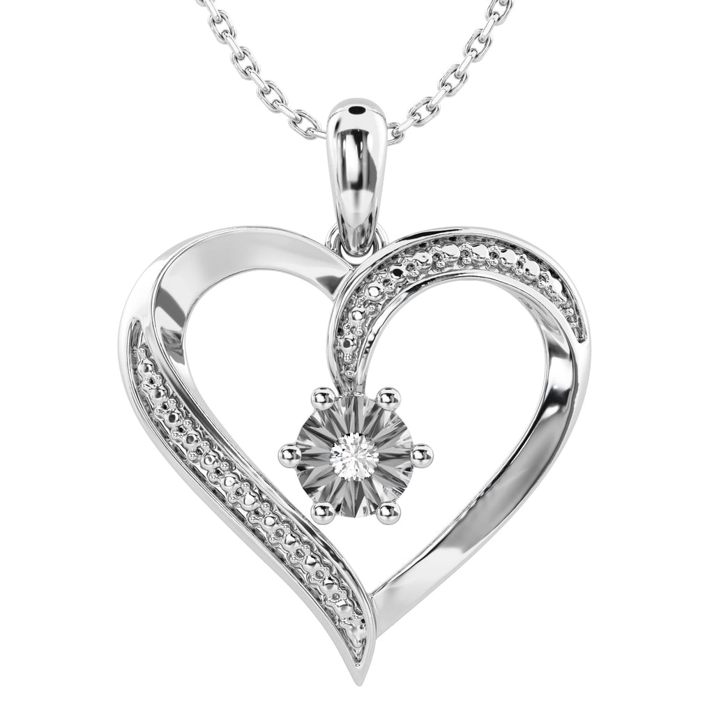 Diamond Set Heart Necklace in Sterling Silver Necklaces Bevilles