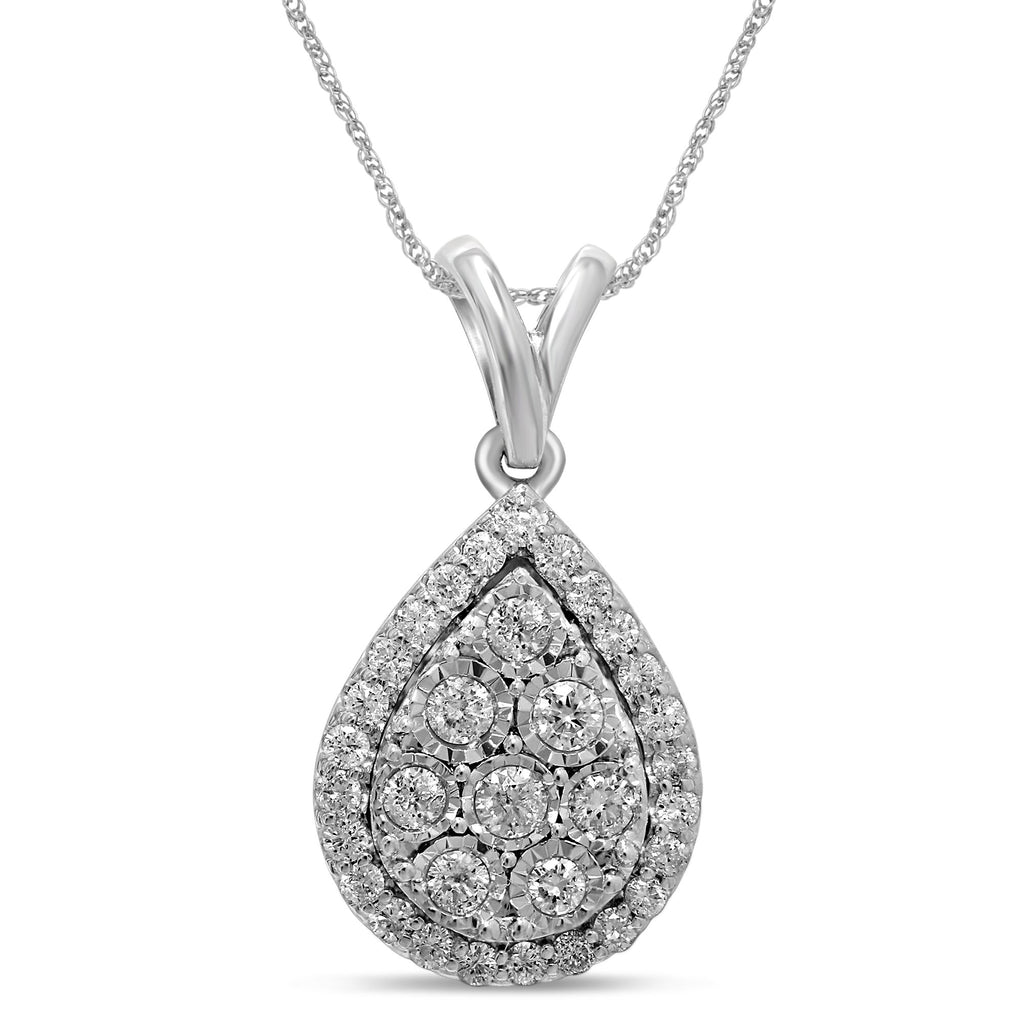 Pear Halo Necklace with 1/2ct of Diamonds in Sterling Silver Necklaces Bevilles