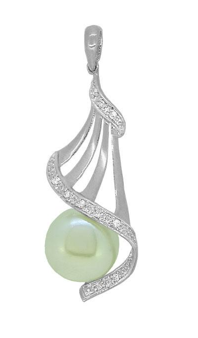 Pearl & Diamond Set Necklace in Sterling Silver Necklaces Bevilles