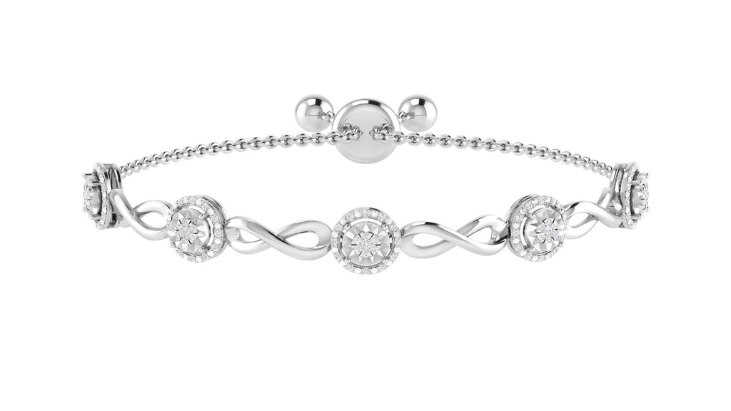 Halo Infinity Bracelet with 1/2ct of Diamonds in Sterling Silver Bracelets Bevilles