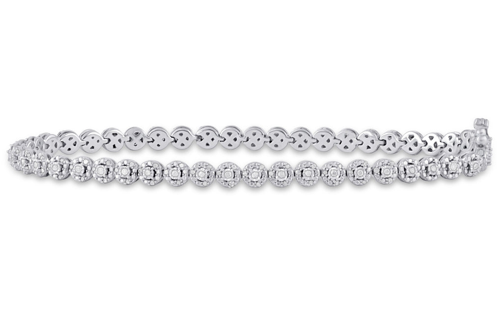 Miracle Halo Tennis Bracelet with 1/2ct of Diamonds in Sterling Silver Bracelets Bevilles