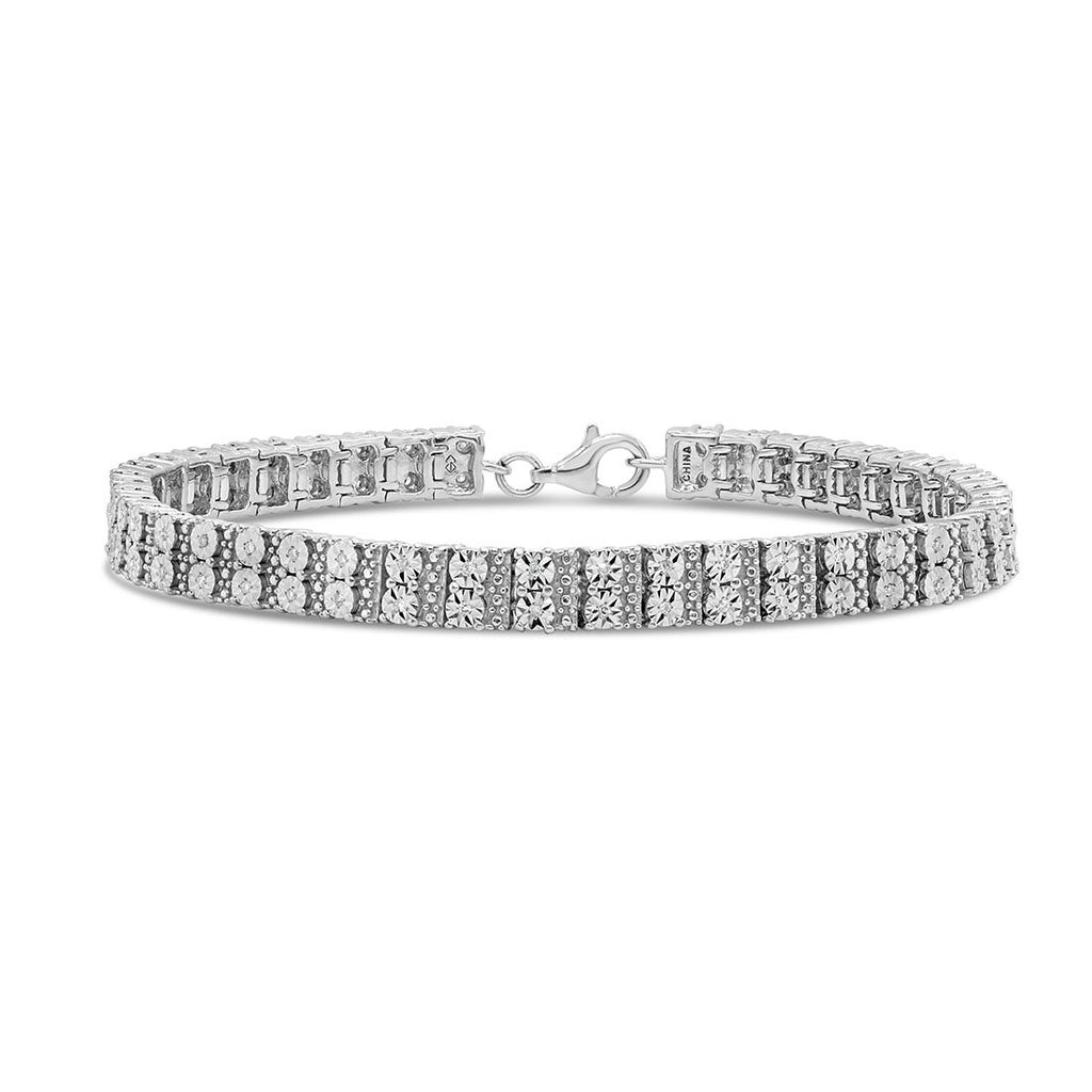 Brilliant Claw Double Row bracelet with 1/4ct of Diamonds in Sterling Silver
