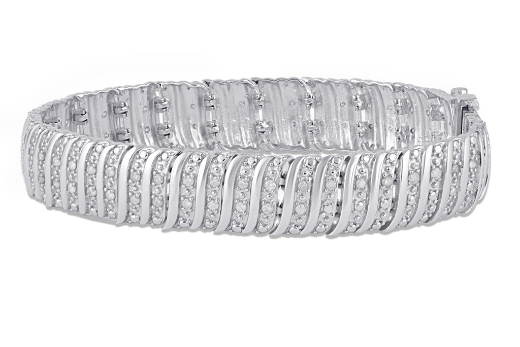 Multi Row Fancy Bracelet with 1.00ct of Diamonds in Sterling Silver Bracelets Bevilles