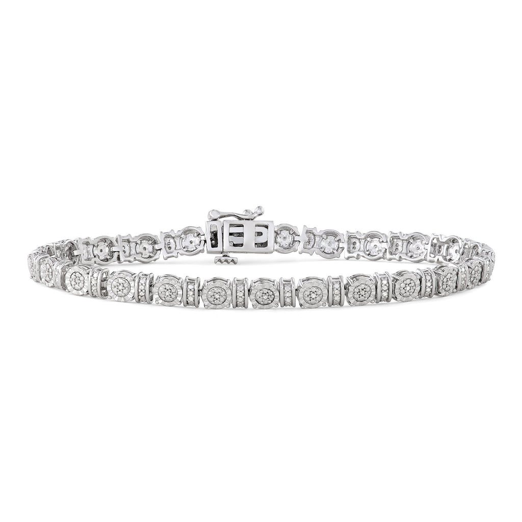 Alternating Miracle Bracelet with 1/4ct of Diamonds in Sterling Silver Bracelets Bevilles