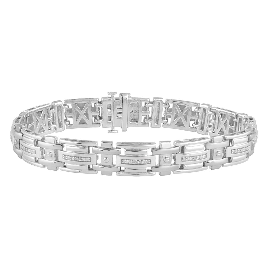 Men's Fancy Link Bracelet with 1/2ct of Diamonds in Sterling Silver Bracelets Bevilles