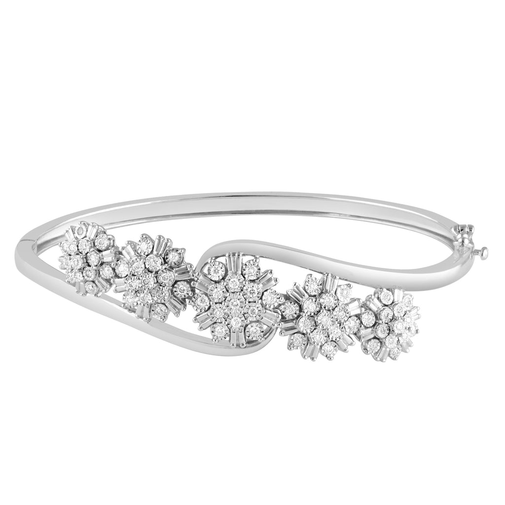 Sterling Silver Fancy Cluster Bangle with 1/2ct of Diamonds Bracelets Bevilles