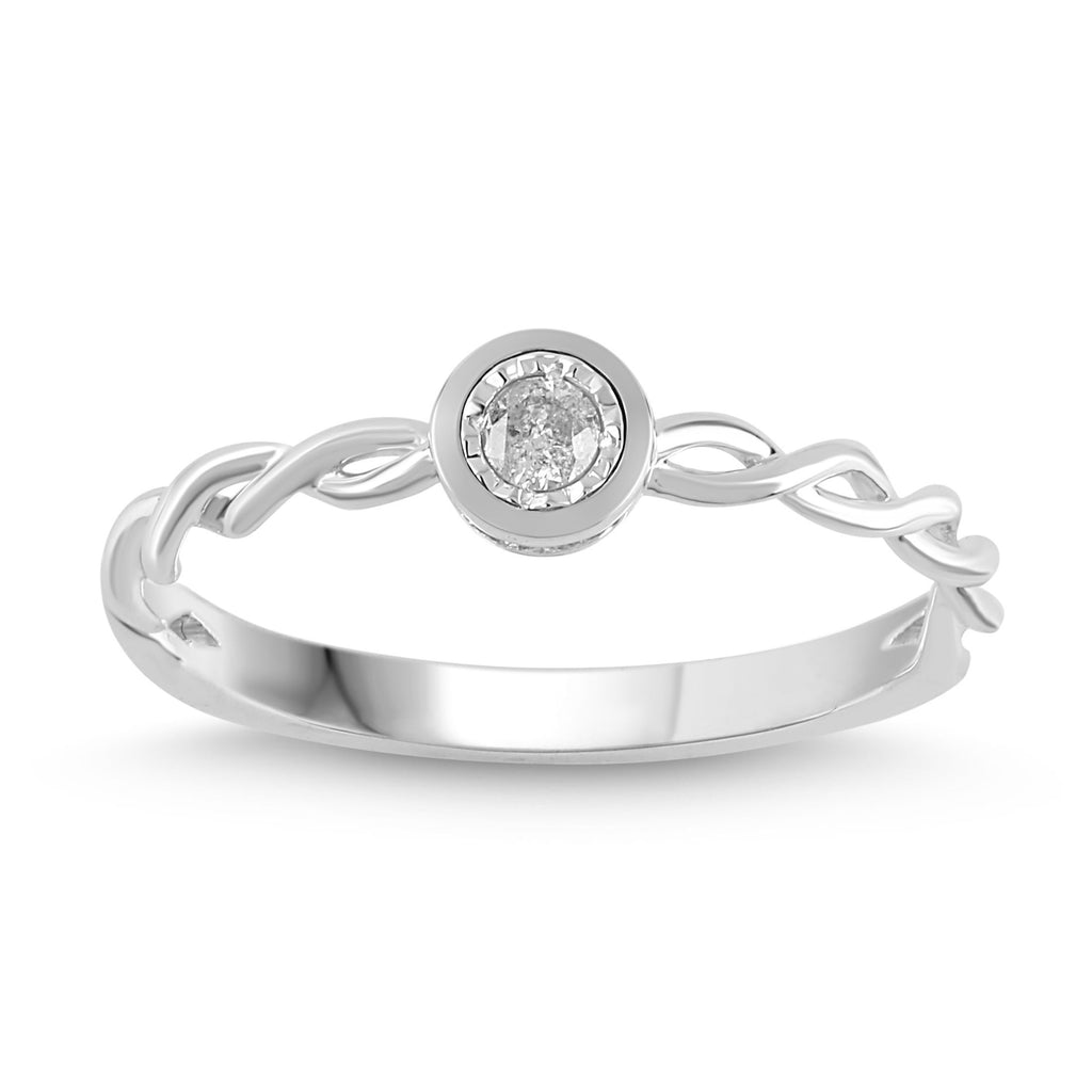 Brilliant Illusion Diamond Stackable Ring in Sterling Silver Rings Bevilles