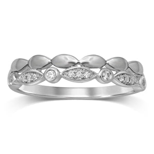 Stackable Diamond Leaf Ring in Sterling Silver