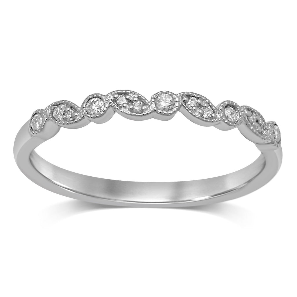 Stackable Leaf Bezel Diamond Ring in Sterling Silver Rings Bevilles