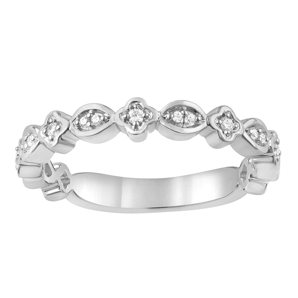 Alternating Oval Surround Stackable Ring with 0.05ct of Diamonds in Sterling Silver Rings Bevilles