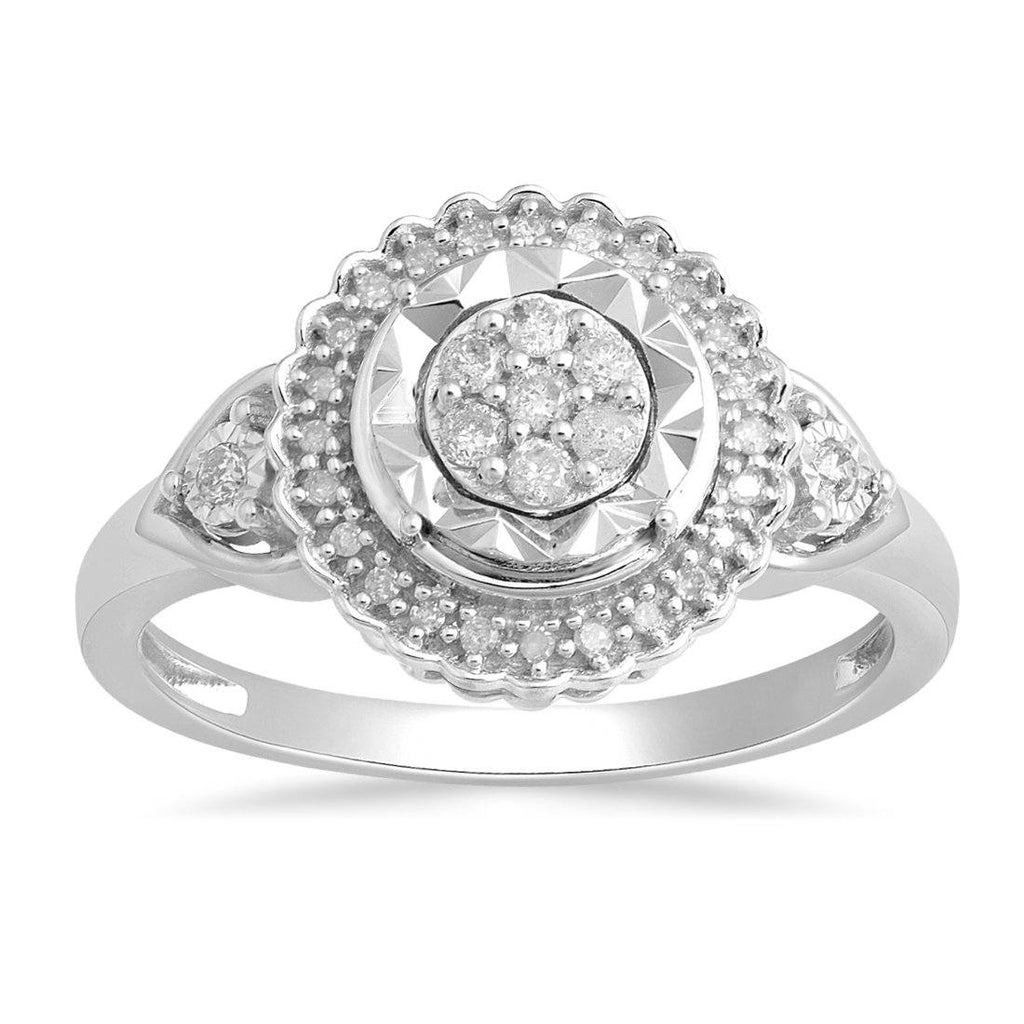 Miracle Halo Ring with 1/5ct of Diamonds in Sterling Silver Rings Bevilles