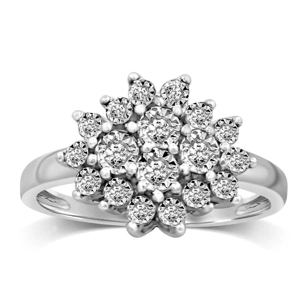 Brilliant Cluster Ring with 0.10ct of Diamonds in Sterling Silver