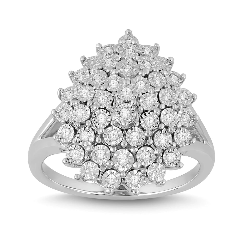 Brilliant Illusion Cluster Ring with 1/5ct of Diamonds in Sterling Silver